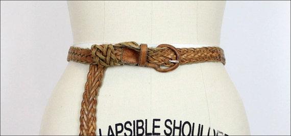 long braided leather belt / peanut brown skinny woven belt