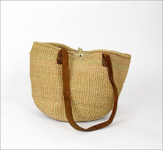 neutral straw market bag / woven sisal bucket tote / leather handles
