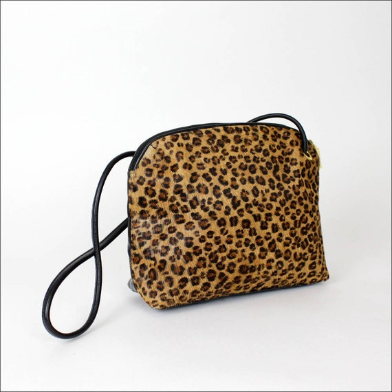 leopard purse / animal print fur & leather shoulder bag