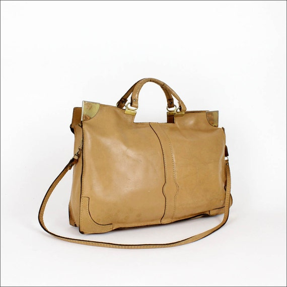 oak leather satchel / top handle envelope / early 80s career girl