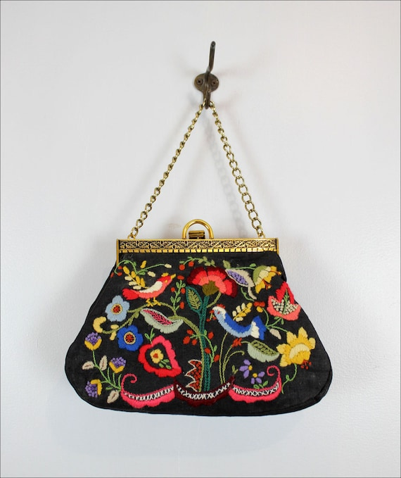 1960s embroidered  purse w/ birds & flowers / multicolor on black