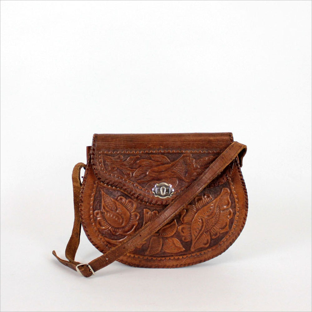 Tooled leather purse floral pattern handbag