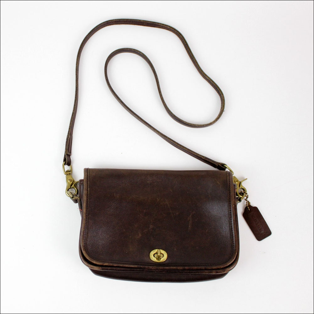 Coach brown leather sling bag / long strap cross body bag