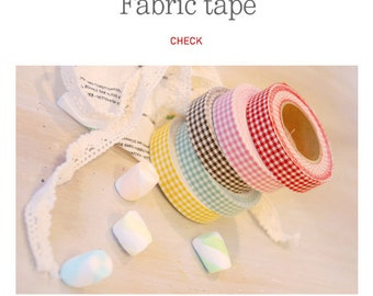 Roll Fabric Reform Tape Decoration for Diary Photo Note etc - minicheck