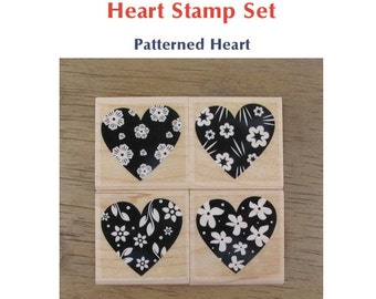 Heart Rubber Stamp - Patterned Heart Set of 4