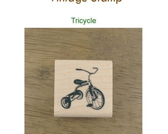 Vintage Style Rubber Stamp - Tricycle