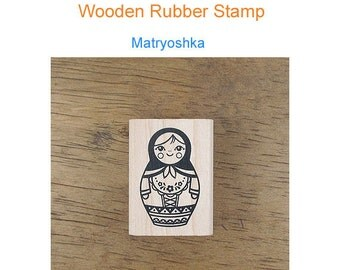 Wooden Rubber  Stamp -Matryoshka