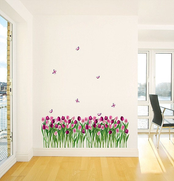 Tulip Garden Adhesive Wall Deco Decal Sticker PS176