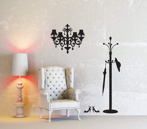 Items Similar To Chandelier And Hanger Art Deco Mural Wall