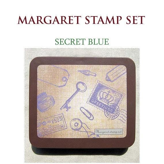 Margaret Rubber Stamp Set - Secret Blue Stamp Set of 9