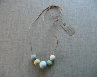 Silver Blue and Moss Ceramic Beads Necklace
