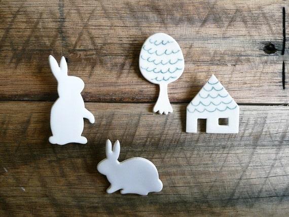 White Bunny Rabbit Brooch