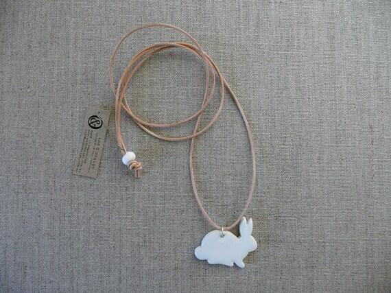 White Ceramic Usagi Pendant