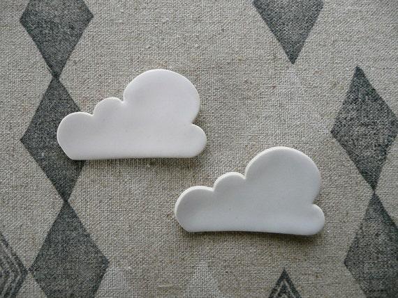 SALE White Summer Cloud Ceramic Brooch