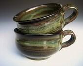 French Onion Soup Bowl Mug Large Green Glaze