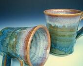 Reserved for Beth. 4 Blue Coffee Mug. Waterfall Blue-Green
