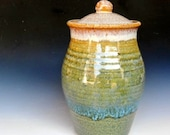 Tall Jar. Blue Green Stoneware