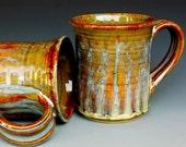 Honey Brown Mug Ceramic Coffee Mug Striped