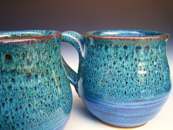 Large Coffee Mug -  Aqua-Blue-Green Glaze