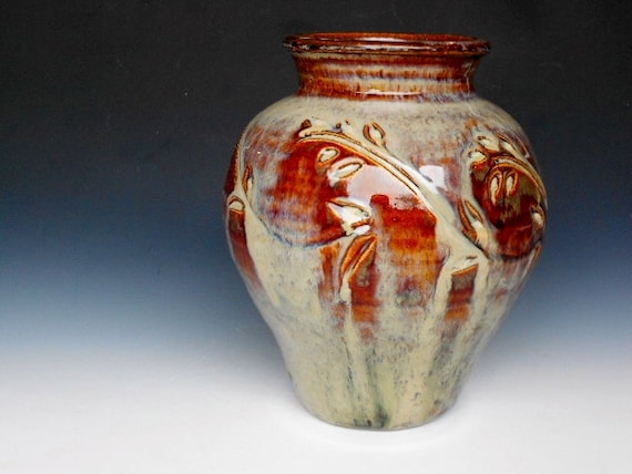 Red Honey Glazed Vase Small Pottery