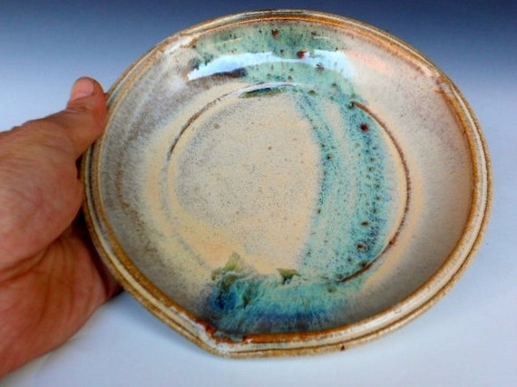 Small Cream Green Brushed Plate