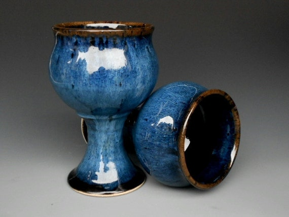 Blue and Black Goblet Pottery Cup Ceramic Chalice