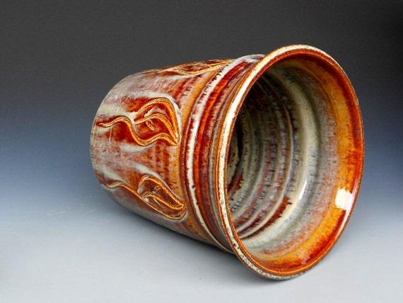Kitchen Utensil Holder Honey Glaze