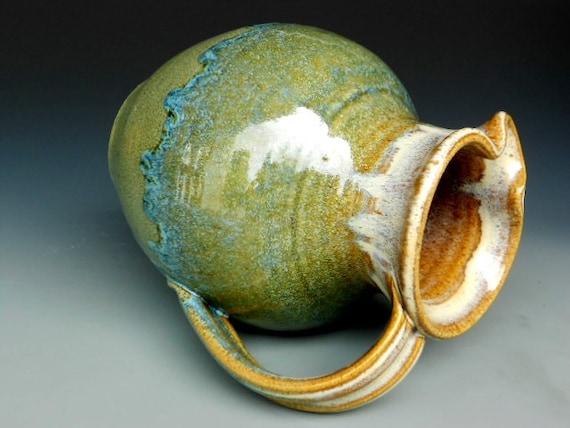Flower Vase Pitcher Blue Green