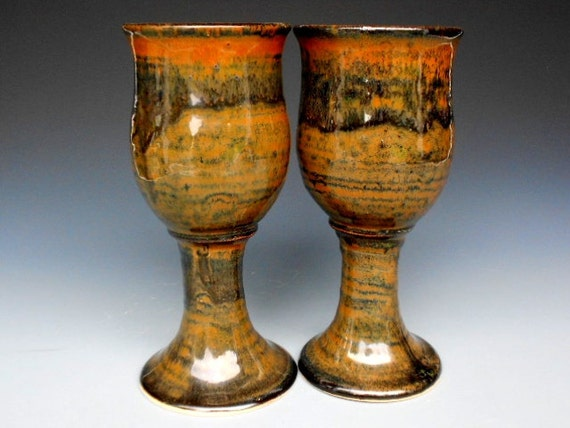 Pair of Tall Goblets. Pottery Cup Ceramic Chalice