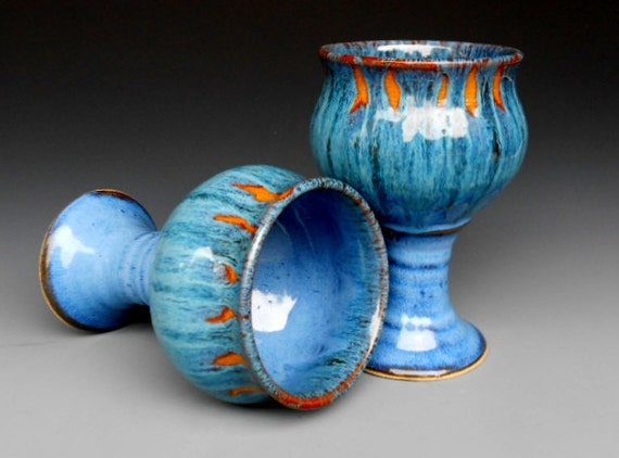 Seconds Blue Goblet Pottery Cup Ceramic Chalice