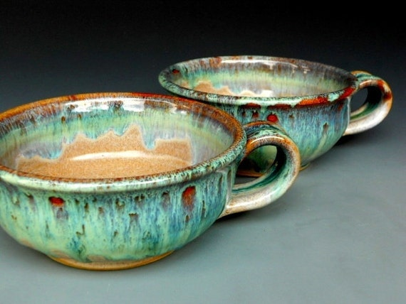 Pair of French Onion Soup Mugs Ceramic Bowls