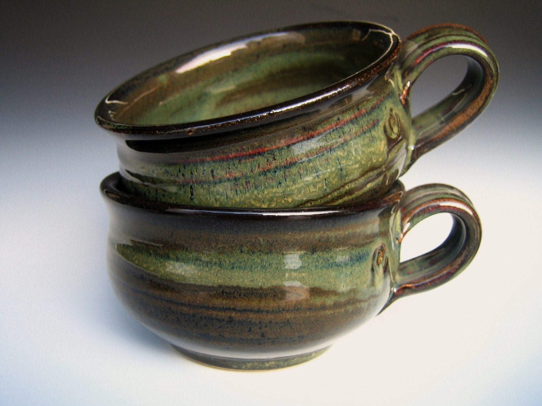 French Onion Ceramic Mug Bowl Handmade Pottery Large Green
