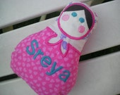 Personalised Matryoshka soft doll plushie embroidered toy lavender pillow