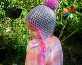 childs crocheted pom pom hat tastled bobble hat grey girls boys hat coloured trim