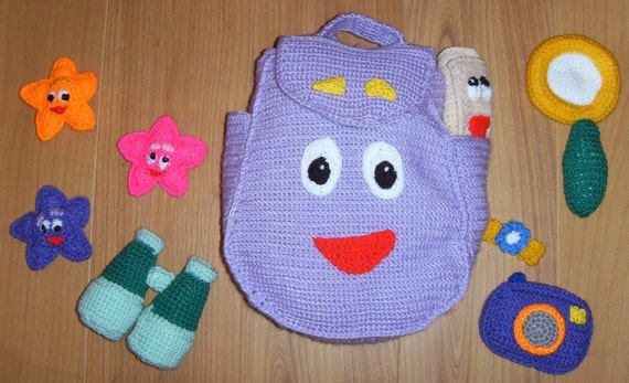 BACKPACK & 8 accessories Crochet Pattern PDF