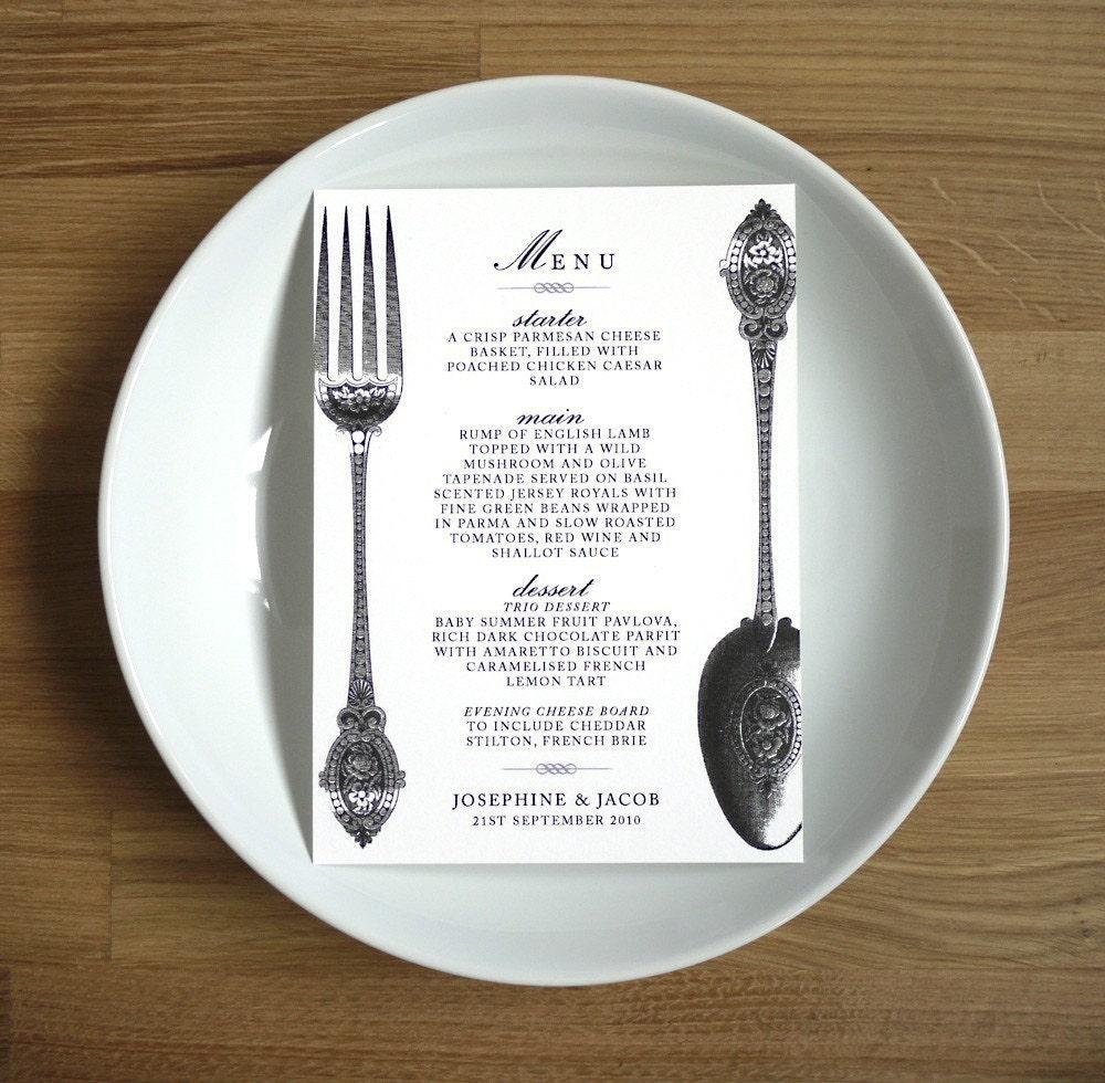 Wedding Food Menu Samples: VINTAGE MENU // Wedding Or Dinner Party // By Twoforjoypaper