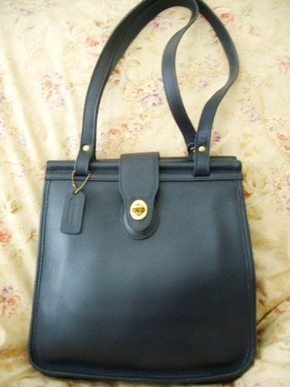 vintage coach navy blue leather book bag tote shoulder bag