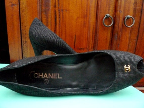 Reserved  Vintage Authentic CHANEL Leather Platform Peeptoe Heel Shoes european 42 US 11...RARE & Beautiful