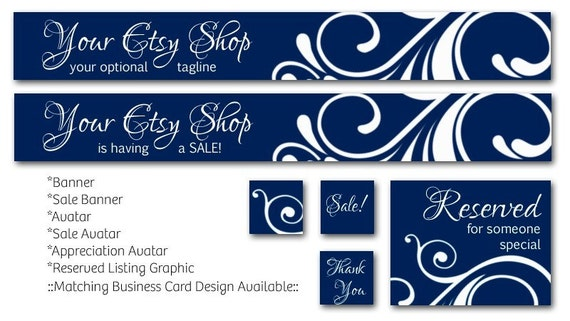 PreMade Royal BlueSwirl Banner and Avatar Etsy Shop Set