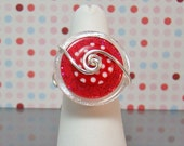 Glittered Red Hot Button Ring