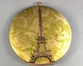 2 Vintage Brass Eiffel Tower Lockets, Photo Locket,Green Damask,Paris,France. Handmade Locket Art by enchantingbutterfly on Etsy.