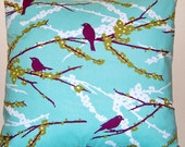 Aviary 2 Pillow Covers 18 x 18 Inches  Joel Dewberry Sparrows in Plum