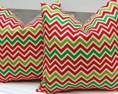 Christmas Pillows Chevron Pillows 20 x 20, Throw Pillow Covers, Accent Pillows, Missoni Style Pillow Covers Christmas Red and Green