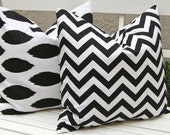 Decorative Pillows, Throw Pillow Covers, Accent Pillows 20 x 20 Inches Black Chevron and Ikat Pillows