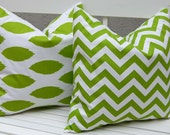 Decorative Pillows, Throw Pillow Covers, Accent Pillows 20 x 20 Inches Bright Green Ikat and Chevron