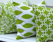 Decorative Pillow Covers Bright Kelly Green Pillows Four Green Cushion Covers Accent Pillows 20 x 20 Inches Chartreuse Green and White