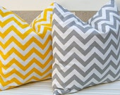 Decorative Throw PIllows Accent Pillows Cushion Covers Missoni Style Bright Yellow and Gray Chevron Pillow Covers 20 x 20 Inches