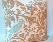 Decorative Throw Pillow Covers 18 x 18 Inches - Taupe and White with Aqua Bird Accent