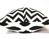 Decorative Pillow Cover, Double Sided, Accent Pillow,  One Pillow Cover 20 x 20 Inches Black Ikat and Black Chevron Invisible Zipper Closure
