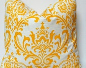Pillows, Decorative Pillows, Yellow Pillow Accent Pillows Cushion Covers - 20 x 20 Inches - Corn Yellow and White Damask